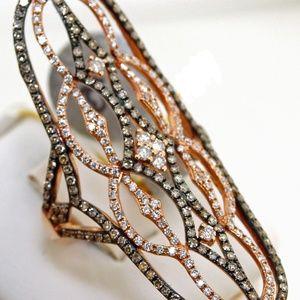 LONG champagne diamond DESIGNER RING 1.39ct